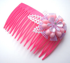 Pink and Purple Vintage Flowers Hair Comb / Barrette