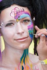 Bodypainting (florianziegler) Tags: portrait colors beautiful face painting gesicht paint makeup parrot brush bodypainting lipstick pinsel ingelheim wimpern schminken bemalung papagai germanbodypaintingfestival eyelashescolorful
