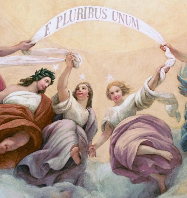 Detail: E Pluribus Unum, Constantino Brumidi's Apotheosis of Washington, U.S. Capitol dome, Washington, D.C.