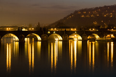 Golden Charles of Praha (ole) Tags: bridge reflection night river lights europe republic czech prague background charles praha reflect czechrepublic charlesbridge longshot karlvmost nigthshot tchequie rpubliquetcheque