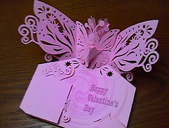 POP-UP Card : Butterfly (type A) (paperflicker) Tags: pink shadow butterfly handmade wing fantasy kirigami papercraft papercutting valentinescard popupcard