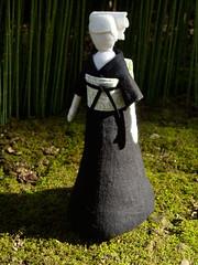 spring walk (beruta) Tags: green stuffed handmade linen sakura springsun clothdoll bambuforest japaneselady blackkimono