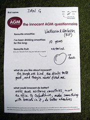 Dan's AGM questionnaire (innocent.drinks) Tags: innocent 2008 agm questionnaire