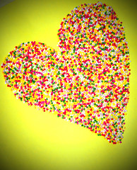 Sweet Heart (Michelle in Ireland) Tags: pink red white color colour green colors yellow colorful colours candy heart shaped sprinkles sweets colourful vignette jimmies cakedecoration challengeyouwinner theunforgettablepictures colourartaward tup2 hundredsnthousands