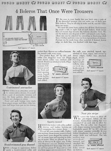 Bolero from men's pants 1950s