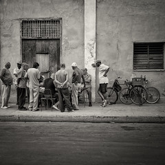 a game of chess (urchino) Tags: street bw square crowd cuba cienfuegos lumixgf1 20mmpancake