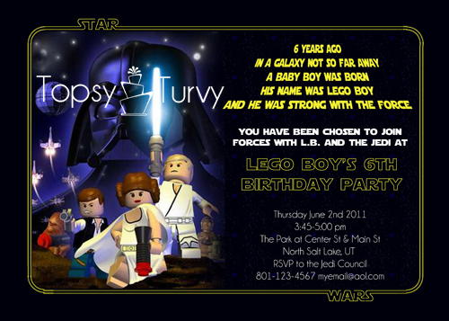 Lego Star Wars Birthday Party Invitation Ashlee Marie