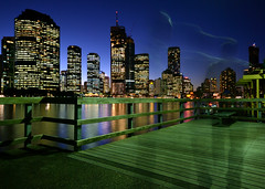 Haunted boardwalk (fredfunk05) Tags: city bridge blue reflection skyline architecture night reflections river twilight nikon brisbane bluehour brisbanecity d60 brisbaneskyline brisbanedusk