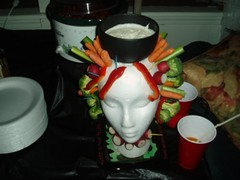 healthy Halloween party food on a foam head