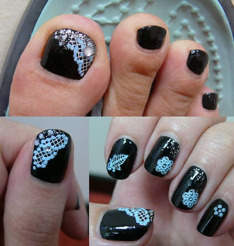 Nail art polish with Black Base Blue Lace Glitter Nail Design