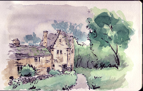 English Cottage Watercolor