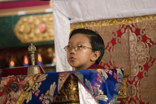 Asanga Sakya on his throne, Tharlam Monastery, Boudha, Kathmandu, Nepal by Wonderlane