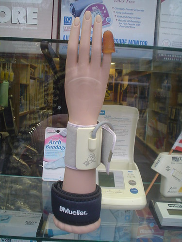 Plastic hand in window