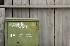 Canada Post (splorp) Tags: wood canada green calgary metal mailbox fence typography graffiti exterior post mail alberta type postal canadapost postescanada