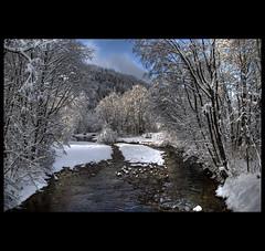 Landscape / Schwarzsee (usbdevice) Tags: winter snow river landscape switzerland stream fribourg freiburg hdr schwarzsee photomatix lacnoir tonemapping nikond80 aplusphoto