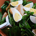 Spinach salad with garlic croutons