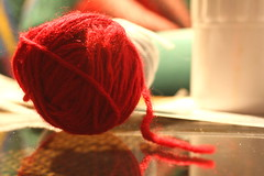 At Gramma's - Knitting (Alana Elliott) Tags: wool knitting grammas soawesome usingupdonatedballsofyarnfromherchurchtomakescarvesforwinnipegshomeless