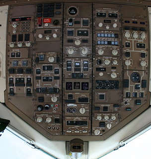 Detailed 757 cockpit overhead panel with notes