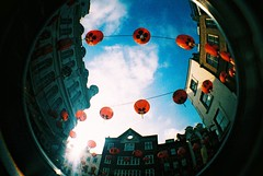 fisheye / lanterns (slimmer_jimmer) Tags: uk london westminster xpro chinatown chinesenewyear 2008 westend fisheyelens chineselanterns fisheye2 kodakelitechrome400
