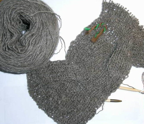 Handspun Reversible Cable Scarf