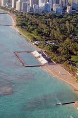 Aeriel Photo of Waikiki Natatorium War Memorial near Kaimana Beach