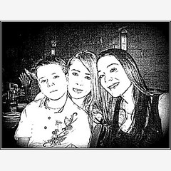 Darker Sketch of Tre,Me,Lena (Honey Lissa) Tags: birthday family friends me dinner fun sketch lena 2008 tre lissa