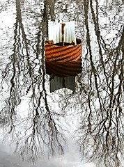 Garrison Forest ~ pond reflection (karma (Karen)) Tags: garrisonforest owingsmillsmaryland ponds reflection pipes rust texture 4winter cmwd topf25