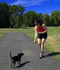 Meet & Greet (swong95765) Tags: dog canine animal woman female lady feed food greet meet