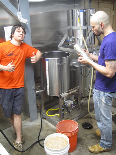 Craig and Sean brewing a small batch of fennell stick saison on the pilot system