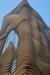 Aqua Tower, Chicago, 2011 (jeffery c johnson) Tags: blue urban chicago detail beautiful architecture skyscraper illinois midwest waves curves aquatower