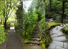 Three Paths (Rosa Say) Tags: collage stone garden moss gate triptych shadows foliage portlandjapanesegarden pathway rockwall washingtonpark bamboofence thenaturalgarden shizenshikiniwa