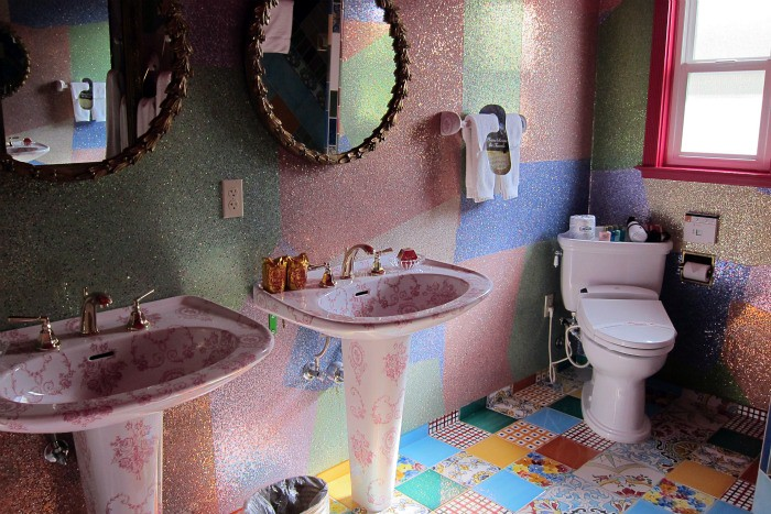 Bathroom in the What's Left Room @ The Madonna Inn