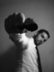 ...E gli si annebbiò la vista.... (Stranju) Tags: bw italy man male self canon italia skin bn explore uomo cielo p unfocused bianco selfpotrait nero bianconero luce biancoenero autoscatto 2007 9mm autopotrait explored uras canonpowershots3is stranju withcanonican whitcanonican sfidephotoamatori canoniani psicoflickr