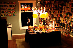 Dread Spread 1 (boopsie.daisy) Tags: decorations party food records pez halloween cookies balloons spread cupcakes bash pumpkins books diningroom popcorn snacks buffet appetizers goodies shelves munchies candyapples fingerfoods mywinners abigfave appies diamondclassphotographer flickrdiamond