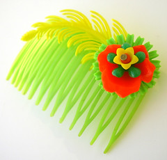 Green, Orange and Yellow Vintage Flowers Hair Comb / Barrette