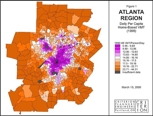 residents of the orange areas drive much more than residents of the purple areas