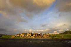 Yeh Gangga - Bali (Aur from Paris) Tags: travel sunset sky bali black beach skyline clouds indonesia landscape sand asia village indonesie canoneos5d digitalblending aur