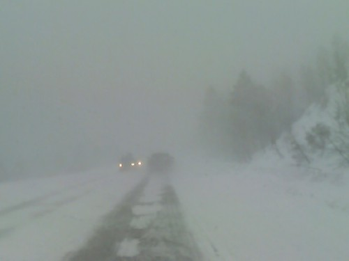Near white out conditions on Hwy 50