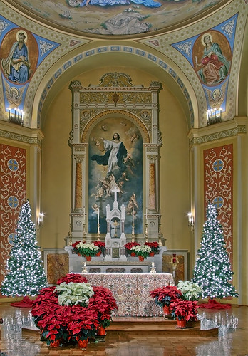 Saint Mary of the Barrens Roman Catholic Church, in Perryville, Missouri, USA - Christmas decorations around altar