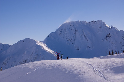 Tim Blair and Madeleine Martin-Preney enjoying another bluebird day, Phelix Creek, Coast Mountains