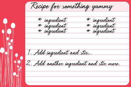 Example Card  Free Recipe Card Templates For Word