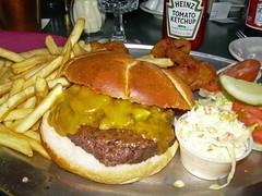 Bistro Burger Deluxe (Morton Fox) Tags: ny tomato burger poughkeepsie lettuce fries pickles cappuccino onionrings bun dutchess kaiserroll bistroburger