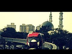 Strange Days (tashenka) Tags: red train asia mosque malaysia kualalumpur monorail klmonorail