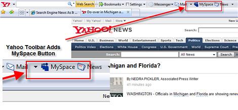 Yahoo Toolbar com botão MySpace