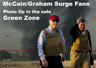 mccain graham central Baghdad's Green Zone after a____ rocket attack March 23, 2008.