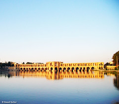 My honorific homeland.. (Hamzeh Karbasi) Tags: bridge reflection river iran  isfahan     khajoo  zayandehrood  khaju hamzehkarbasi   khadjou 63onflickrexplore