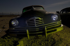 Gangster (Lost America) Tags: lightpainting 1948 abandoned car night fullmoon junkyard packard highway395 nocturnes pearsonville