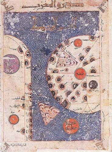 Mapa de Al-Andalus con Córdoba en el círculo central, con el Atlántico arriba y el Mediterráneo abajo. Y. Karmal. Monumenta Cartographica.