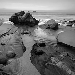 Porth Nanven (Adam Clutterbuck) Tags: uk greatbritain england blackandwhite bw seascape beach water monochrome rock square landscape mono coast blackwhite sand rocks stream cornwall unitedkingdom britain bn boulders coastal shore elements gb streams bandw sq limitededition cornish westpenwith penwith greengage nanven porthnanven adamclutterbuck thebrisons progo sqbw bwsq bubblegumrock showinrecentset shortedition le50 limitededition50