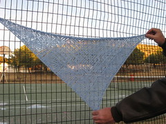 Mystic Waters KAL Clue 2 completed (spinningal) Tags: lace knit shawl kal